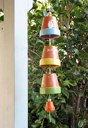 Leaf Print Clay Pot Wind Chimes Clay Pot Crafts