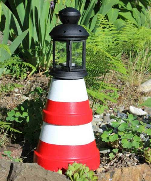 Lighthouse Clay Pot Candle Holder Tea Light