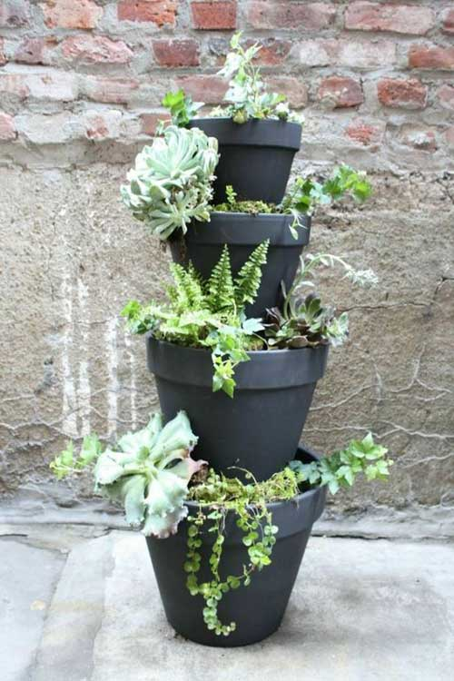 Matt Black Four Layer Terracotta Tiered Planter -Clay Pot Crafts