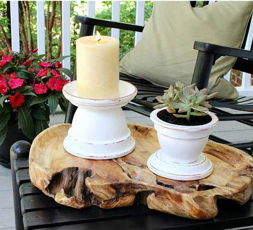 Ornamental Outdoor Clay Pot Candle Holder