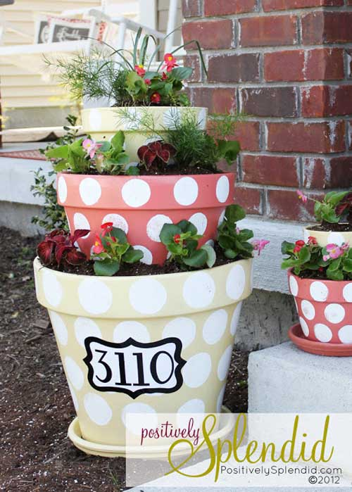 Polka Dot Terracotta Tiered Planter - Clay Pot Crafts