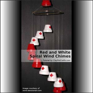 Red and White Spiral Clay Pot Wind Chimes - Clay Pot Crafts To Make