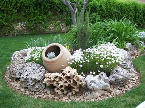 Rockery Island Center Piece - Empty Clay Pot Ideas