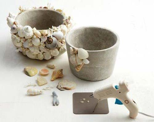 Sea Shell Flower Pots - Add Shells Using Glue Gun - Clay Pot Crafts