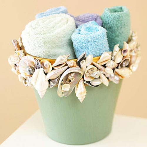 Sea Shell Flower Pots - Pretty Bathroom Accent - Clay Pot Crafts