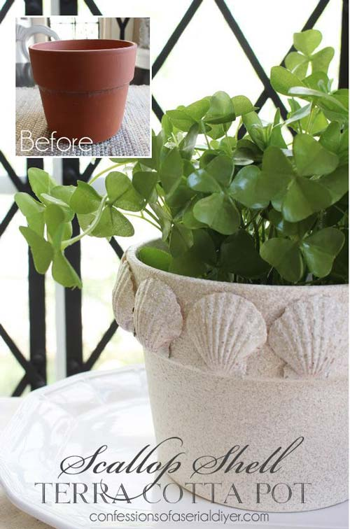 Sea Shell Flower Pots - Scallop Shell Clay Pot - Clay Pot Crafts