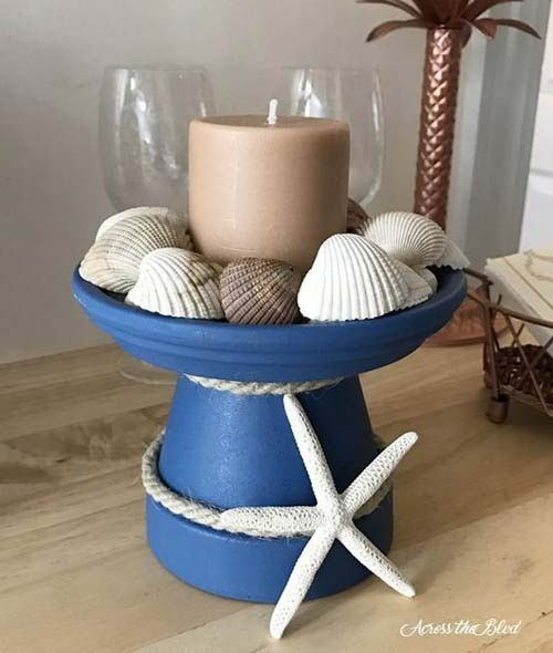 Sea Shell and Starfish Clay Pot Candle Holder