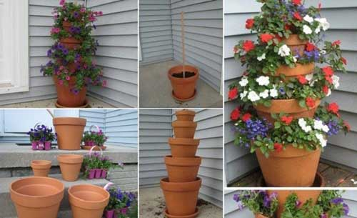 Slightly Tilted Terracotta Tiered Planter - Clay Pot Crafts
