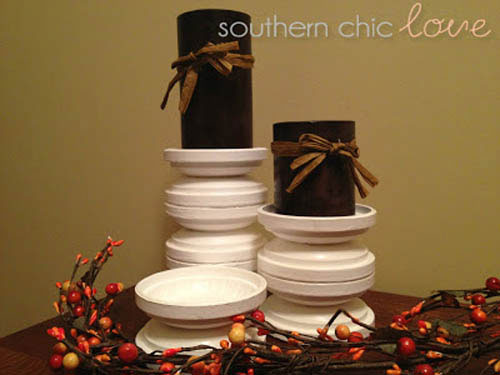 Stacked Saucers Clay Pot Candle Holder