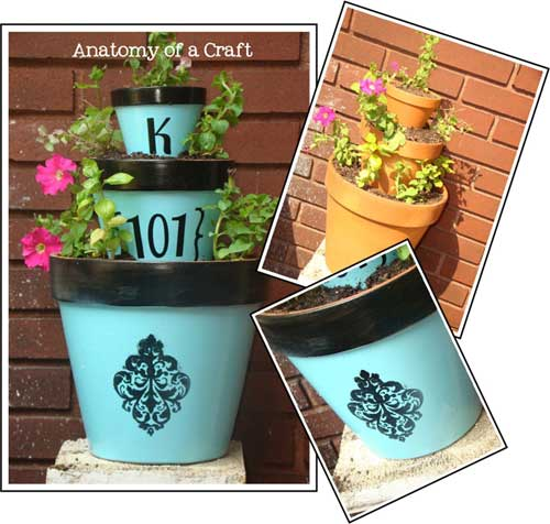 Stenciled Blue and Black Terracotta Tiered Planter - Clay Pot Crafts