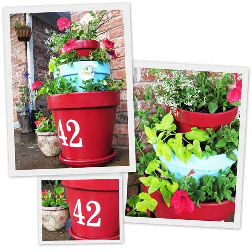 Red and Blue Terracotta Tiered Planter - Clay Pot Crafts