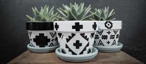 Aztec Geometric Painted Planters - Clay Pot Crafts