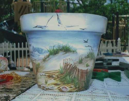 Beach View Fine Art Hand Painted Flower Pots - Clay Pot Crafts