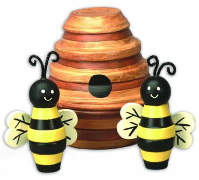Bee Hive Clay Pot Bumble Bee - Clay Pot Crafts