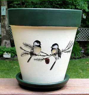 Birds Fine Art Hand Painted Flower Pots - Clay Pot Crafts