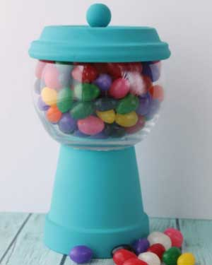 Blue Candy Jar - Clay Pot Crafts