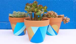 Blue Shades Geometric Painted Planters - Clay Pot Crafts
