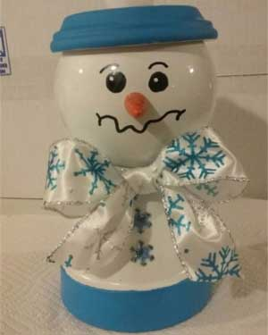 Blue Snowman Candy Jar - Clay Pot Crafts