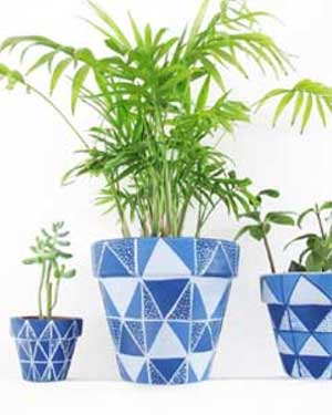 Blue Triangles Geometric Painted Planters - Clay Pot Crafts