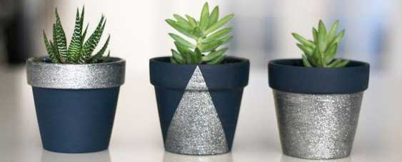 Blue and Silver Geometric Painted Planters - Clay Pot Crafts