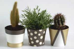 Brown and Gold Geometric Painted Planters - Clay Pot Crafts