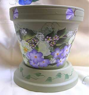 Butterflies and Flowers Fine Art Hand Painted Flower Pots - Clay Pot Crafts