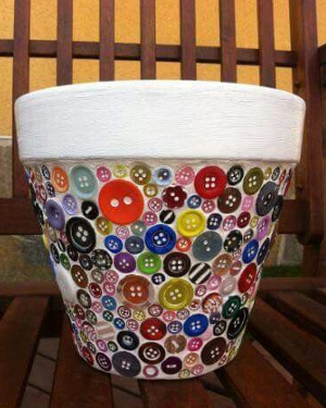 Buttons Mosaic Clay Pots - Clay Pot Crafts