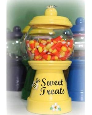 Candy Jar Clay Pot Bumble Bee With Wings - Clay Pot Crafts