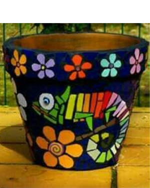 Chameleon Mosaic Clay Pots - Clay Pot Crafts
