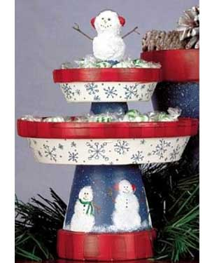 Christmas Terracotta Cupcake Stand - Clay Pot Crafts