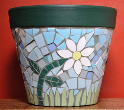 Daisy Mosaic Clay Pots - Clay Pot Crafts