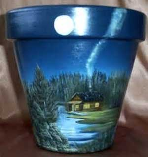 Dreamy Lakeside House Fine Art Hand Painted Flower Pots - Clay Pot Crafts