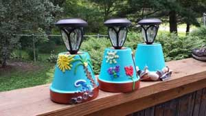 Embellished Solar Garden Lights - Clay Pot Crafts
