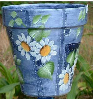 Flowers on Denim Fine Art Hand Painted Flower Pots - Clay Pot Crafts