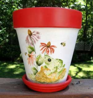 Frog Fine Art Hand Painted Flower Pots - Clay Pot Crafts