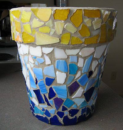 Glass Mosaic Clay Pots - Clay Pot Crafts