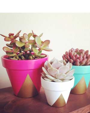 Gold Triangle Geometric Painted Planters - Clay Pot Crafts