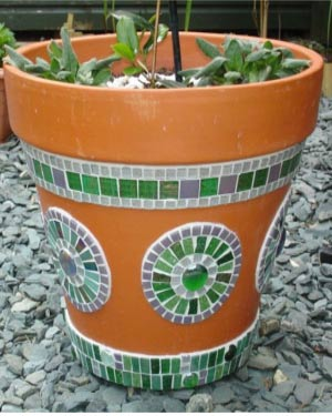 Green and White Mosaic Clay Pots - Clay Pot Crafts