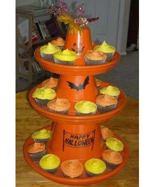 Halloween Terracotta Cupcake Stand - Clay Pot Crafts