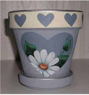 Heart of Flowers Fine Art Hand Painted Flower Pots - Clay Pot Crafts