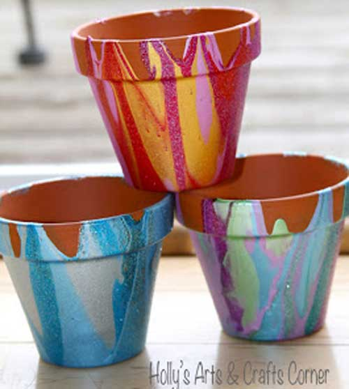 Hollys Glitzy Terracotta Drippy Pots - Clay Pot Crafts