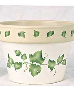 Ivy Stencils on Terracotta Pots