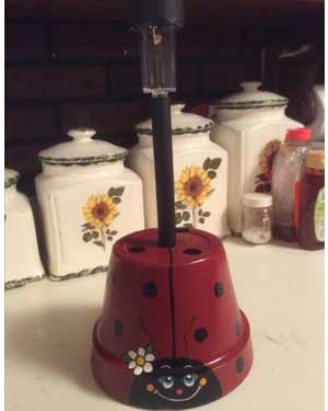 Ladybug Solar Garden Lights - Clay Pot Crafts