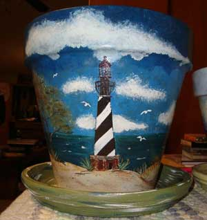 Lovely Lighthouse Scene Fine Art Hand Painted Flower Pots - Clay Pot Crafts
