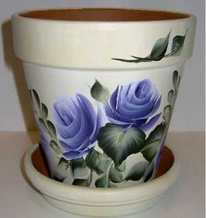 Luscious Blue Flowers Fine Art Hand Painted Flower Pots - Clay Pot Crafts