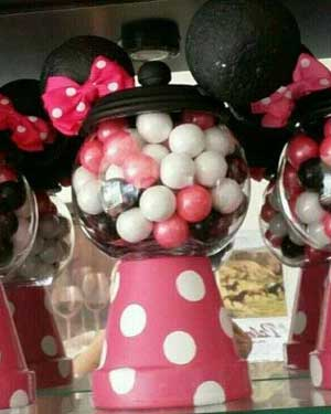 Minie Mouse Candy Jar - Clay Pot Crafts