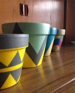 Mixed Geometric Painted Planters - Clay Pot Crafts