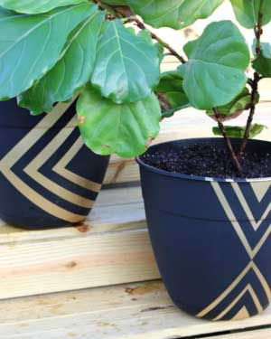 Modern Geometric Painted Planters - Clay Pot Crafts