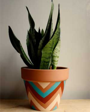 Multi Geometric Painted Planters - Clay Pot Crafts