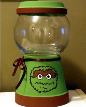 Oscar the Grouch Candy Jar - Clay Pot Crafts
